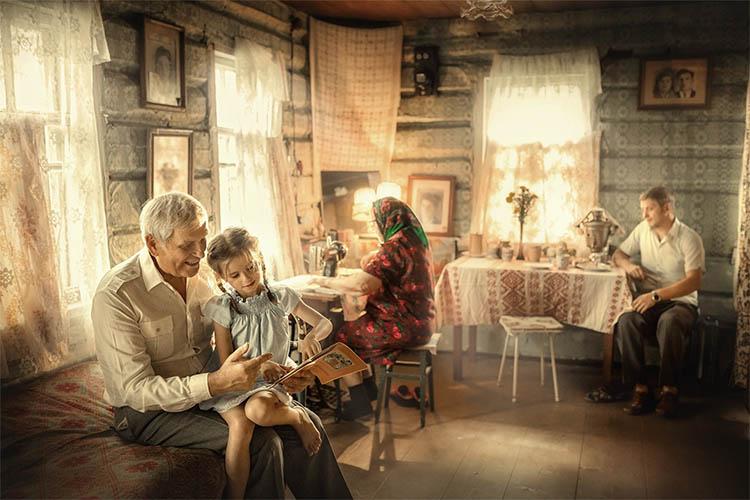 Семья в деревне