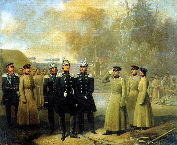 Великий князь Николай Николаевич осматривает работы 3-й роты лейб-гвардии Сапёрного батальона