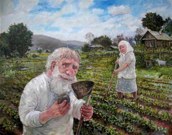 Бабушка с дедушкой на огороде
