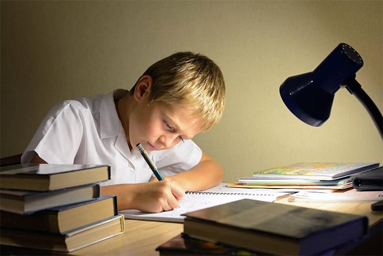 Мальчик выполняет домашние задания