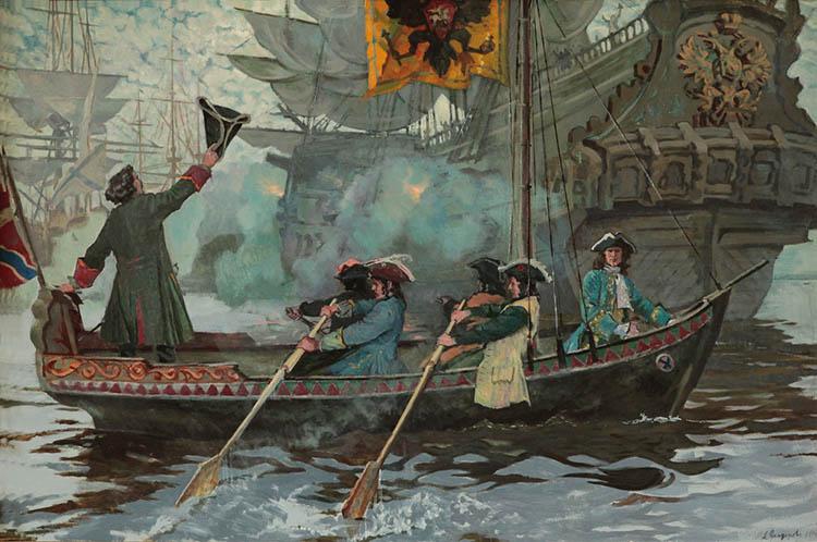 Петр I приветствует военные корабли