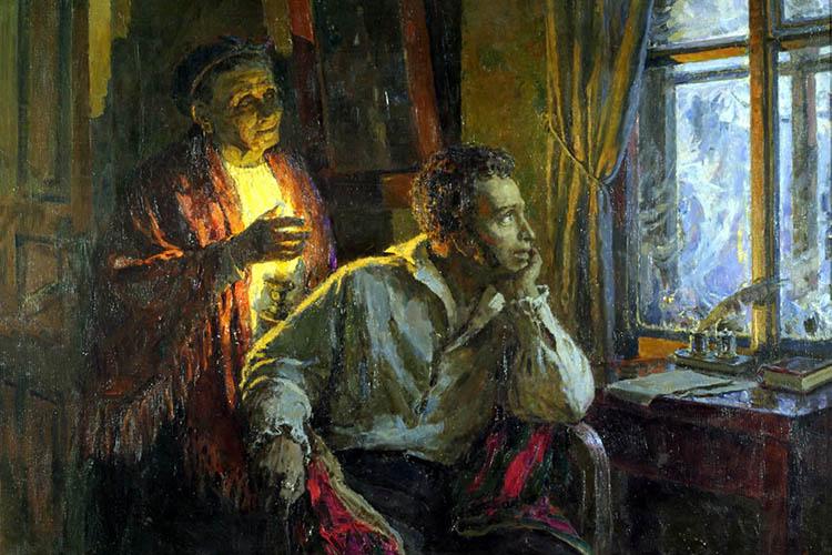 Пушкин и Арина Родионовна