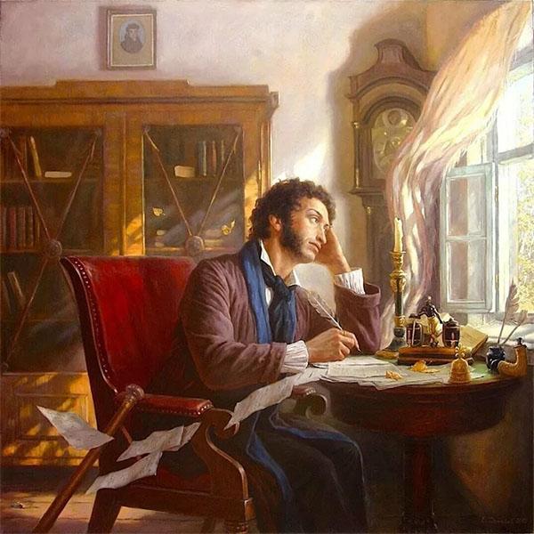 Пушкин за письменным столом