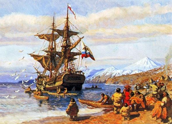 Русский корабль у берегов Аляски