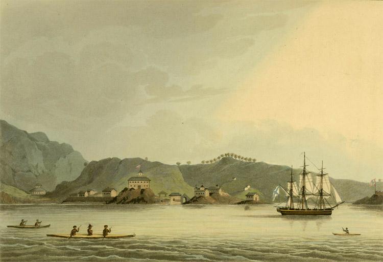 Шлюп «Нева» в гавани Святого Павла на острове Кадьяк (Рисунок Юрия Лисянского)