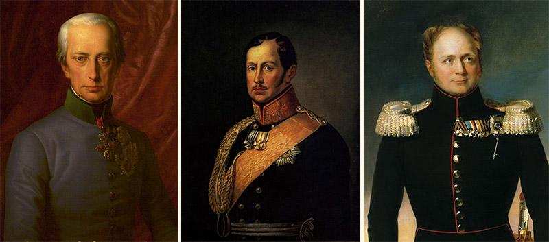 Франц I Австрийский, Фридрих Вильгельм III Прусский и Александр I