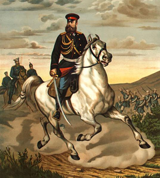 Генерал Михаил Скобелев на коне