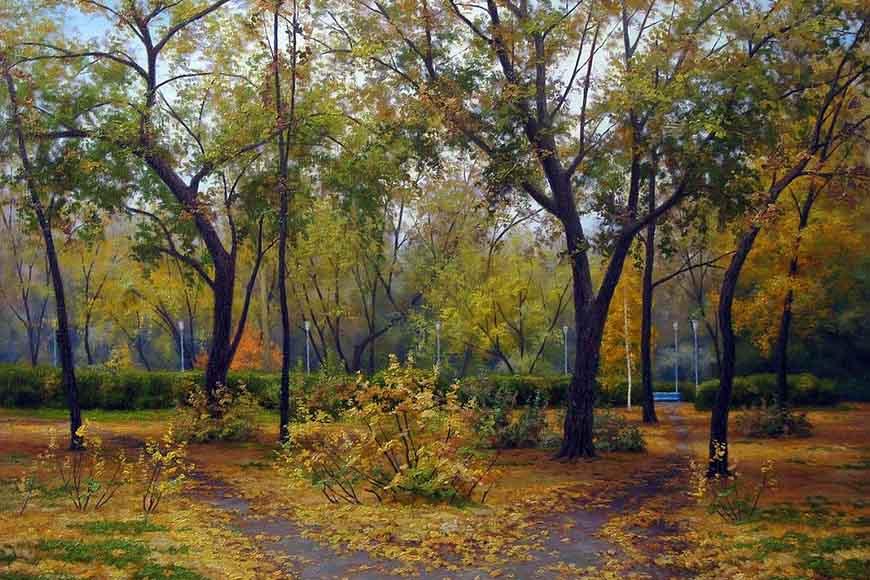 Осенний сквер. Художник В. Осипцов