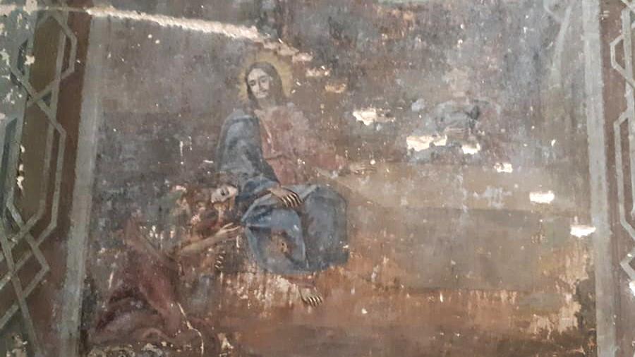 Расстрелянная фреска Воскресенского храма с. Троицкое.