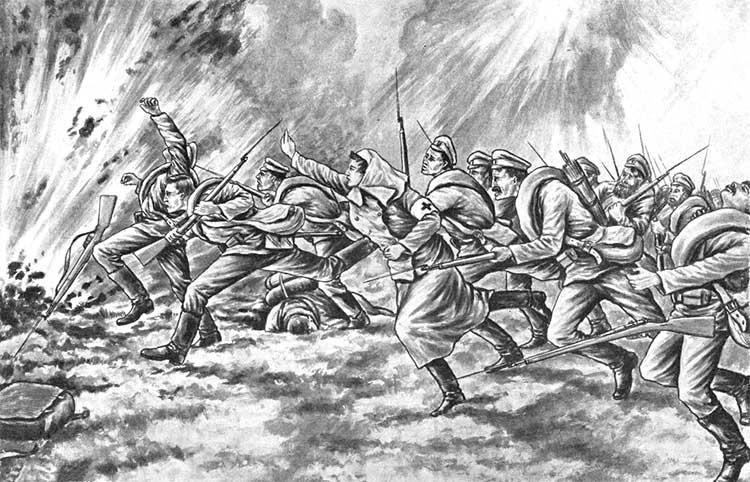 Римма Иванова поднимает солдат в атаку