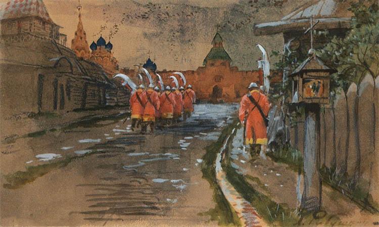 Стрелецкий дозор у Ильинских ворот в старой Москве