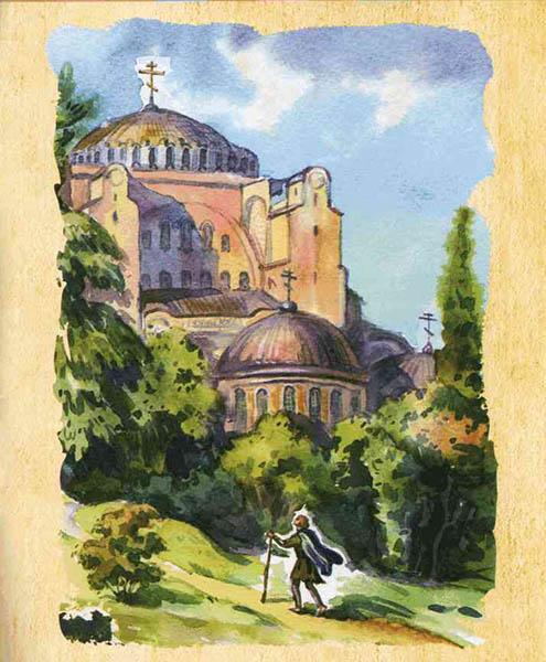 Преподобный Роман Сладкопевец идет в храм