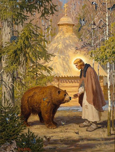 Преподобный сергий Радонежский и медведь