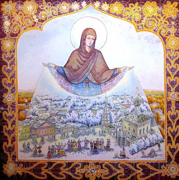 Пресвятая Богородица укрывает Своим омофором Россию