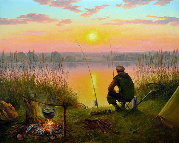 Рыбак на берегу