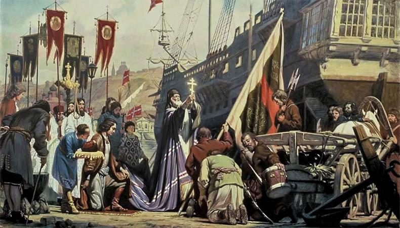 Освящение корабля епископом Митрофаном