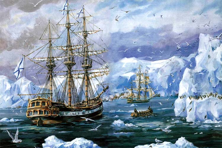 Шлюпы Мирный и Восток в Антарктиде