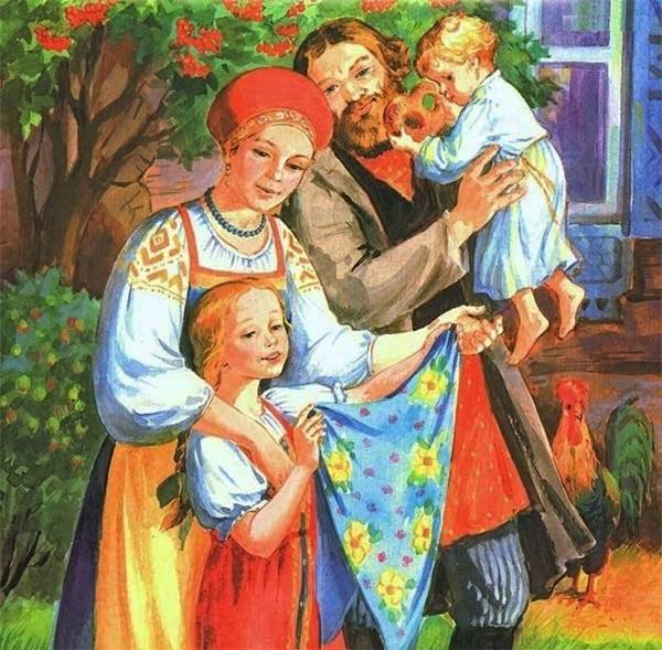 Семья около дома