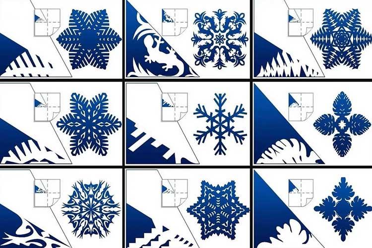 Шаблон снежинок из бумаги