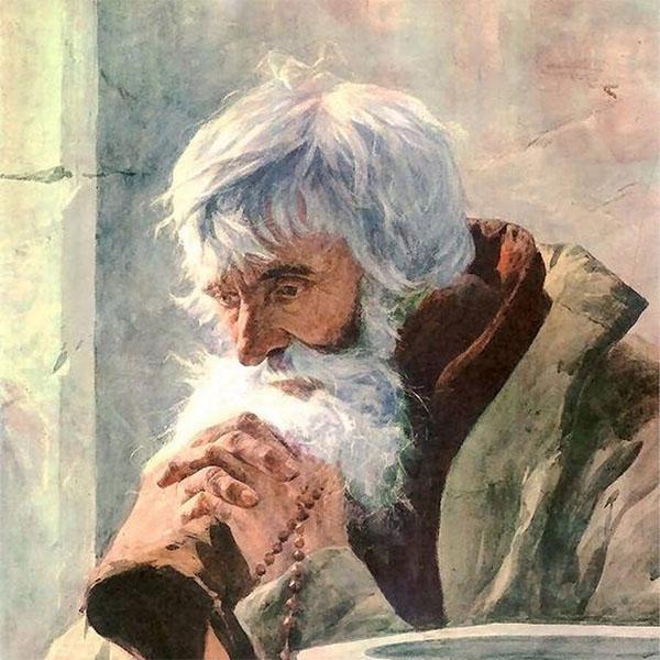 Старик молится