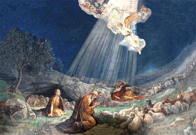 Ангел возвещает пастухам о Рождении Христа