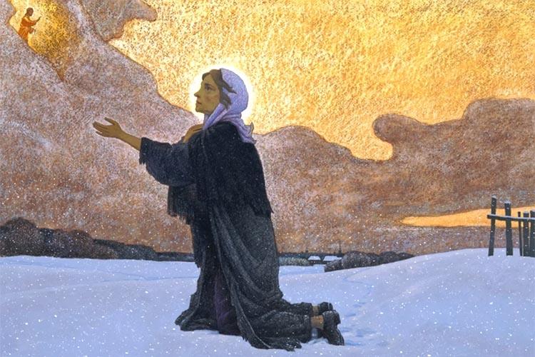 Блаженная Ксения Петербургская молится в поле