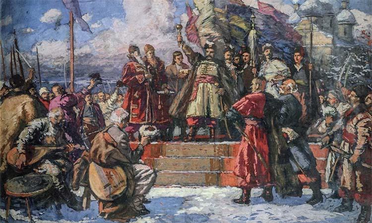 Богдан Хмельницкий на Переяславской раде
