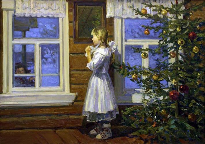 Девочка возле елки