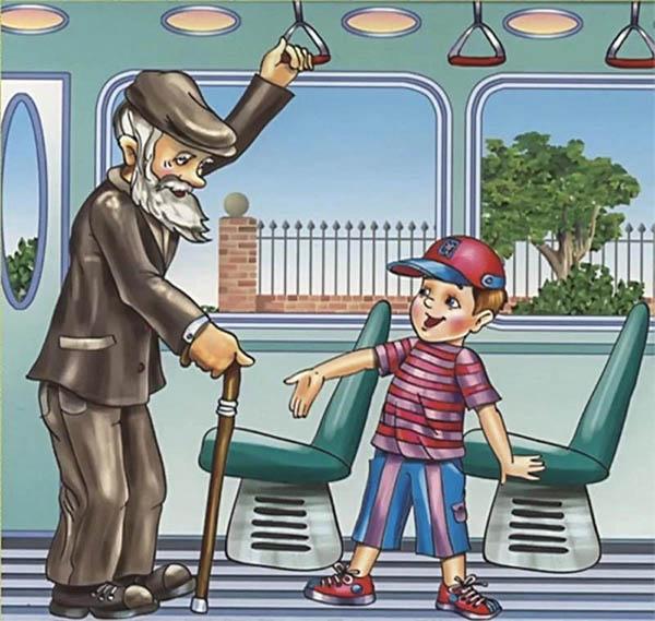 Мальчик уступил место в автобусе
