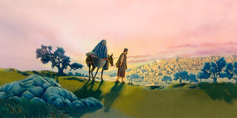 Мария и Иосиф идут в город Вифлеем