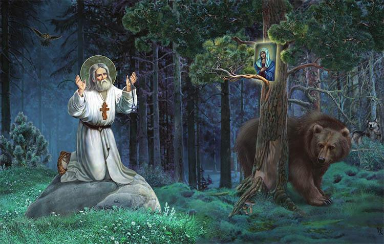 Прп. Серафим Саровский молится в лесу