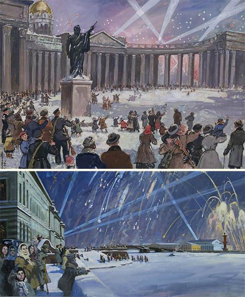 Салют в честь снятия блокады ЛенинградаСалют в честь снятия блокады Ленинграда