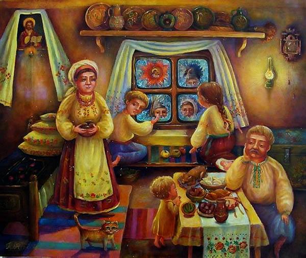 Семья в Рождество на Руси