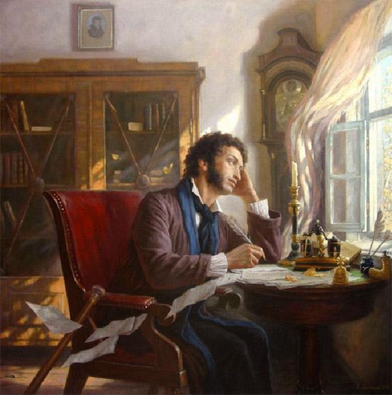 Александр Пушкин пишет за столом