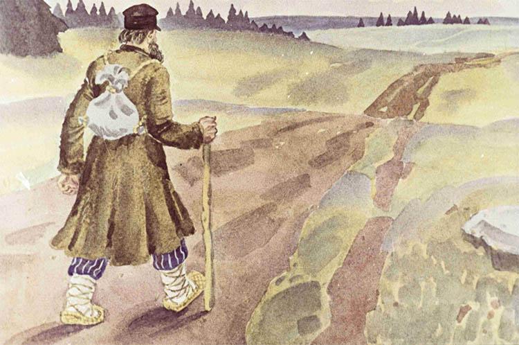 Крестьянин идет пешком