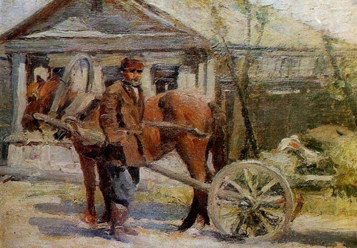 Крестьянин у лошади