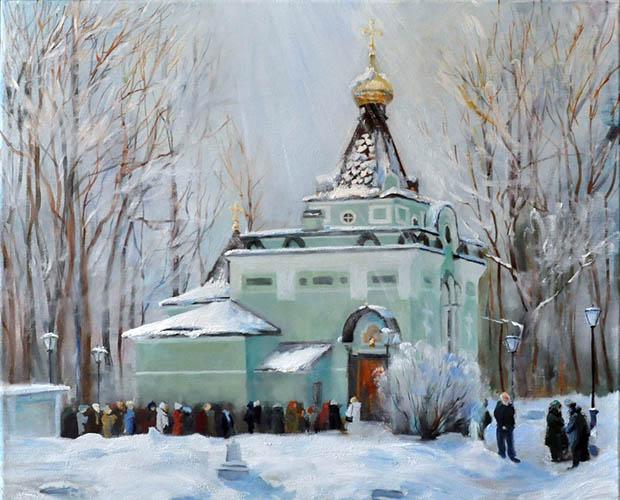 Люди на Смоленском кладбище у часовни блаженной Ксении Петербургской