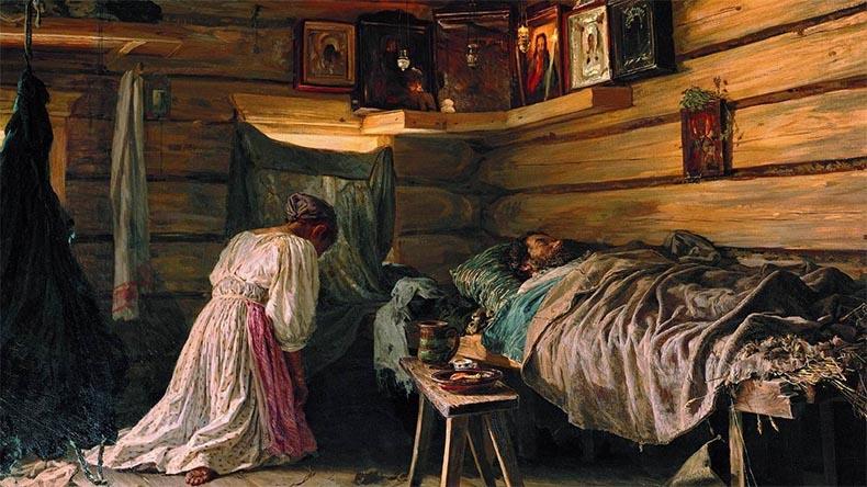 Молится у постели больного