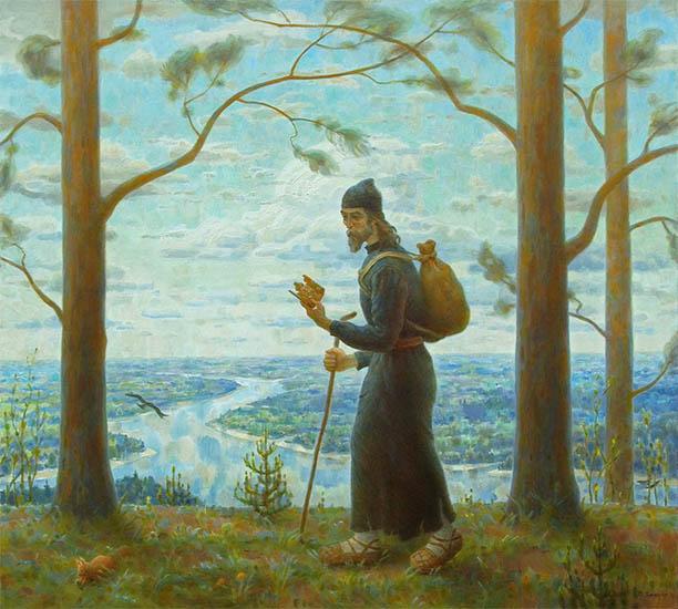 Монах идет