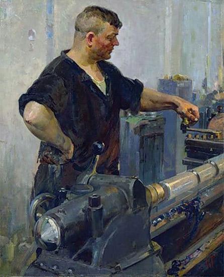 Мужчина за станком