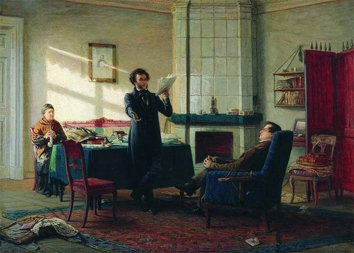 Пушкин читает стихи