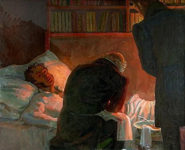 Раненый Пушкин в постели