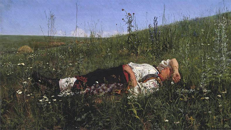 Спит в поле