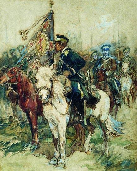 Казак со знаменем Забайкальского казачьего войска