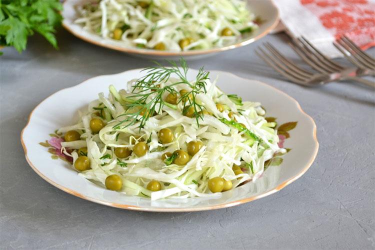 Салат из капусты и горошка