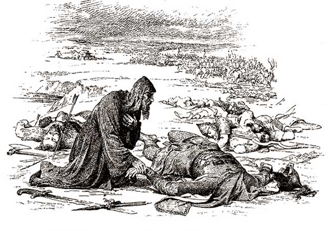 Епископ Кирилл находит обезглавленное тело великого князя Юрия на поле сражения на реке Сити