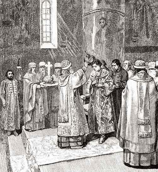 Митрополит Макарий венчает на царство Ивана IV