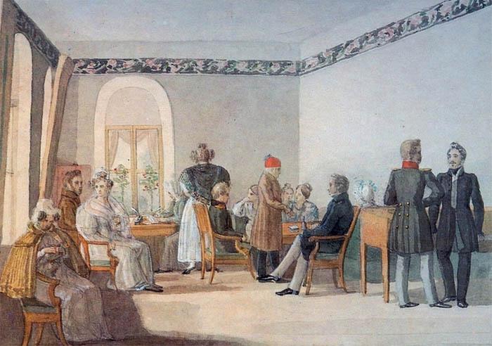 Гостиная в доме Олениных в Приютине