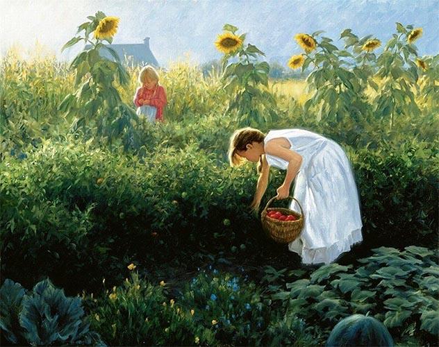 Мама и дочка в огороде