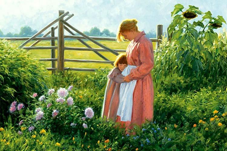 Мама с дочкой в огороде